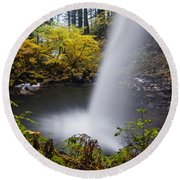 Unique View Of Ponytail Falls Round Beach Towel