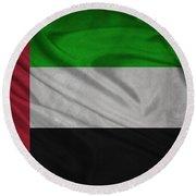 United Arab Emirates Flag Waving On Canvas Round Beach Towel