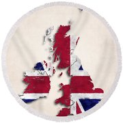 United Kingdom Map Art With Flag Design Round Beach Towel
