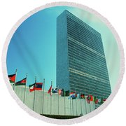 United Nations Building With Flags Round Beach Towel