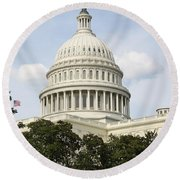 United State Capitol Dome Washington Dc Round Beach Towel