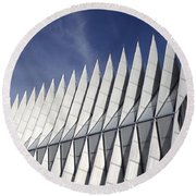 United States Airforce Academy Chapel Colorado Round Beach Towel