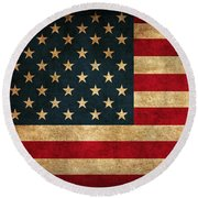 United States American Usa Flag Vintage Distressed Finish On Worn Canvas Round Beach Towel by Design Turnpike