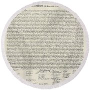 United States Bill Of Rights Round Beach Towel