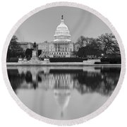 United States Capitol Building Bw Round Beach Towel by Susan Candelario