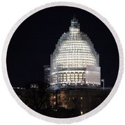 United States Capitol Dome Scaffolding At Night Round Beach Towel