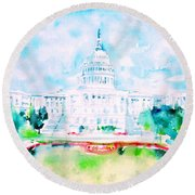 United States Capitol - Watercolor Portrait Round Beach Towel