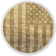 United States Declaration Of Independence Round Beach Towel by Dan Sproul