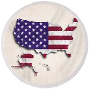 United States Map Art With Flag Design Round Beach Towel
