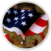 United States Map  Round Beach Towel by Marvin Blaine