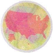 United States Map - Red And Watercolor Round Beach Towel