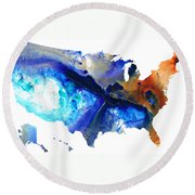 United States Of America Map 7 - Colorful Usa Round Beach Towel