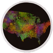 Unites States Watercolor Map Round Beach Towel
