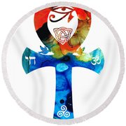 Unity 16 - Spiritual Artwork Round Beach Towel