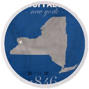 University At Buffalo New York Bulls College Town State Map Poster Series No 022 Round Beach Towel