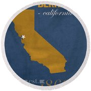 University Of California At Berkeley Golden Bears College Town State Map Poster Series No 024 Round Beach Towel