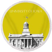 University Of Iowa - Mustard Yellow Round Beach Towel