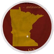 University Of Minnesota Golden Gophers Minneapolis College Town State Map Poster Series No 066 Round Beach Towel