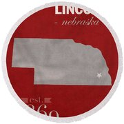 University Of Nebraska Lincoln Cornhuskers College Town State Map Poster Series No 071 Round Beach Towel