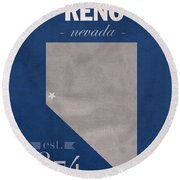 University Of Nevada Reno Wolfpack College Town State Map Poster Series No 072 Round Beach Towel