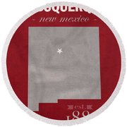 University Of New Mexico Albuquerque Lobos College Town State Map Poster Series No 074 Round Beach Towel