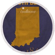 University Of Notre Dame Fighting Irish South Bend College Town State Map Poster Series No 081 Round Beach Towel