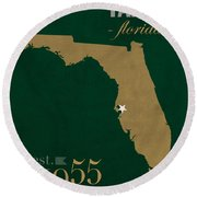 University Of South Florida Bulls Tampa Florida College Town State Map Poster Series No 101 Round Beach Towel