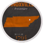 University Of Tennessee Volunteers Knoxville College Town State Map Poster Series No 104 Round Beach Towel
