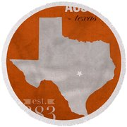 University Of Texas Longhorns Austin College Town State Map Poster Series No 105 Round Beach Towel