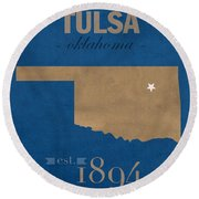 University Of Tulsa Oklahoma Golden Hurricane College Town State Map Poster Series No 115 Round Beach Towel
