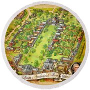 University Of Virginia Academical Village  With Scroll Round Beach Towel