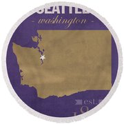 University Of Washington Huskies Seattle College Town State Map Poster Series No 122 Round Beach Towel