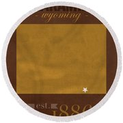 University Of Wyoming Cowboys Laramie Wy College Town State Map Poster Series No 128 Round Beach Towel