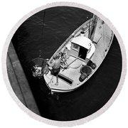 Unloading Fish At Wharf Two Monterey  Circa 1950  Round Beach Towel