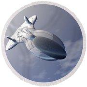 Unmanned Spaceship Round Beach Towel
