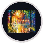 Unresolved Feelings - Palette Knife Oil Painting On Canvas By Leonid Afremov Round Beach Towel