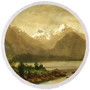 Untitled Mountains And Lake Round Beach Towel
