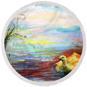 Untitled Watercolor       Round Beach Towel