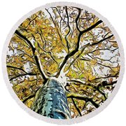 Up Into The Tree Round Beach Towel