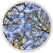Up Into The Trees Round Beach Towel
