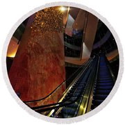 Up The Down Escalator Round Beach Towel