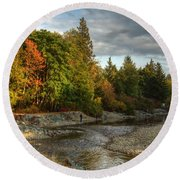 Up The River Round Beach Towel