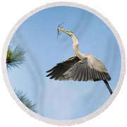Up To The Nest Round Beach Towel by Deborah Benoit