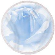 Upon A Cloud Blue Rose Flower Round Beach Towel