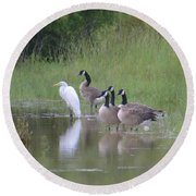 Upon The Misty Waters Round Beach Towel