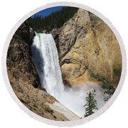Upper Falls Yellowstone National Park Round Beach Towel
