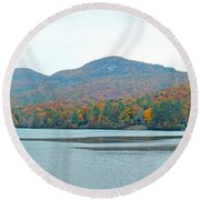 Upper Lake Toxaway In The Fall 2 Round Beach Towel