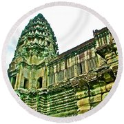 Upper Level Tower In Angkor Wat In Angkor Wat Archeological Park Near Siem Reap-cambodia Round Beach Towel
