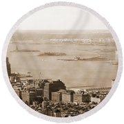 Upper New York Bay Vintage Round Beach Towel