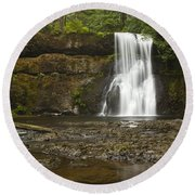 Upper North Silver Falls 1 Round Beach Towel